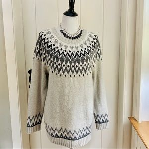 TALBOTS Grey & Black Wool Nordic Fair Isle Sweater